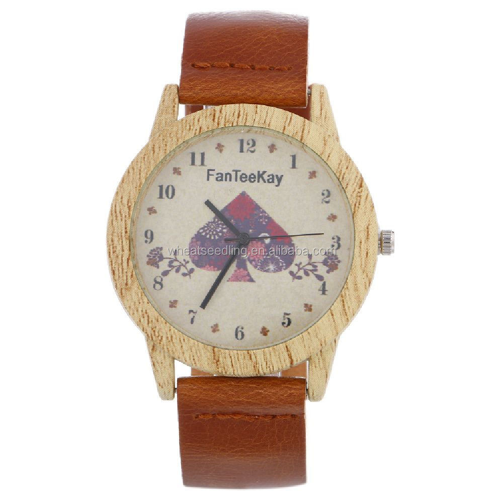 <strong>Hot</strong> In Stock Mixed Color Retro Cheap Wooden wheel gear Watches Wood Women Men Wristwatch Brown Leather Analog Quartz Clock OEM w
