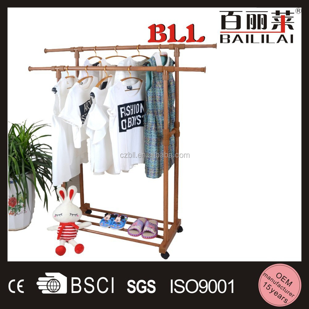 sliding expandable double rail aluminum clothes hanger pole
