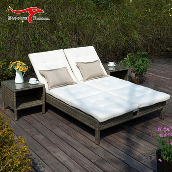 Aluminum Patio Garden Outdoor Furniture Rattan Adjustable Lounge Folding Sofa Bed Set
