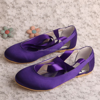 (21 Colors) Ladies Beautiful Flat Shoes Purple with Lace-up