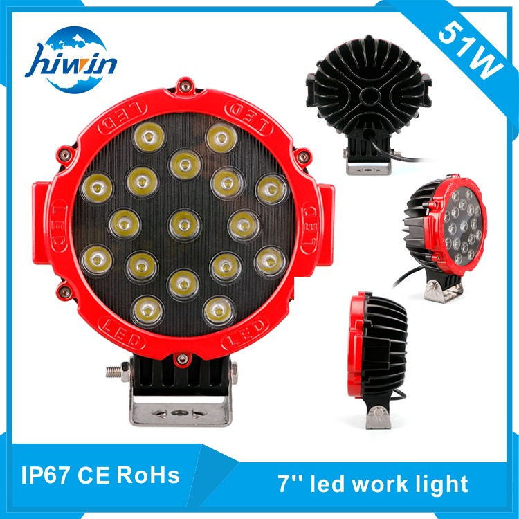 Hiwin 51w 7inch Explosion-Proof Car Led Work Light For Truck