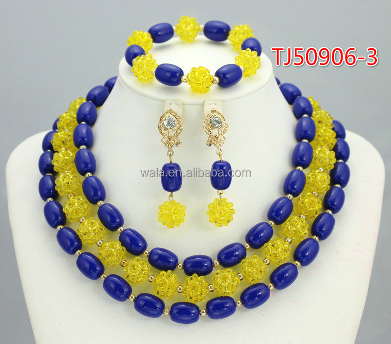 New Arriving Nigeria Bridal Beads Royal Blue Jewelry Sets ...