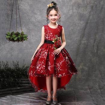 New Brand Flower Girls Dress Kids Princess Party Wedding Gowns For Children  Graduation Ceremony Baby Kids Long Tail Formal Wear , Buy Kids Princess