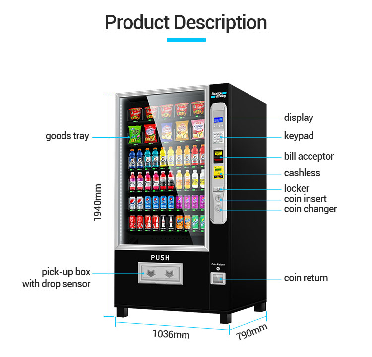 Zoomgu CE certificate factory provide Snack and drink Combo Vending Machine