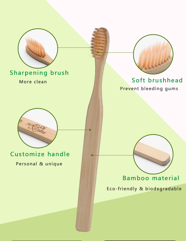 Wholesale Custom Private Label Eco Friendly Biodegradable Adult Charcoal Organic Wooden Travel Soft Bamboo Toothbrush