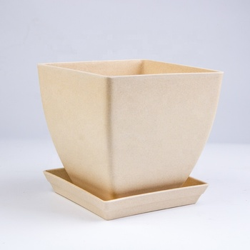 Cheap Biodegradable Bamboo Fiber Flower Pot With Tray