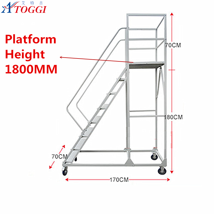mobile detachable steel warehouse ladders 8 step