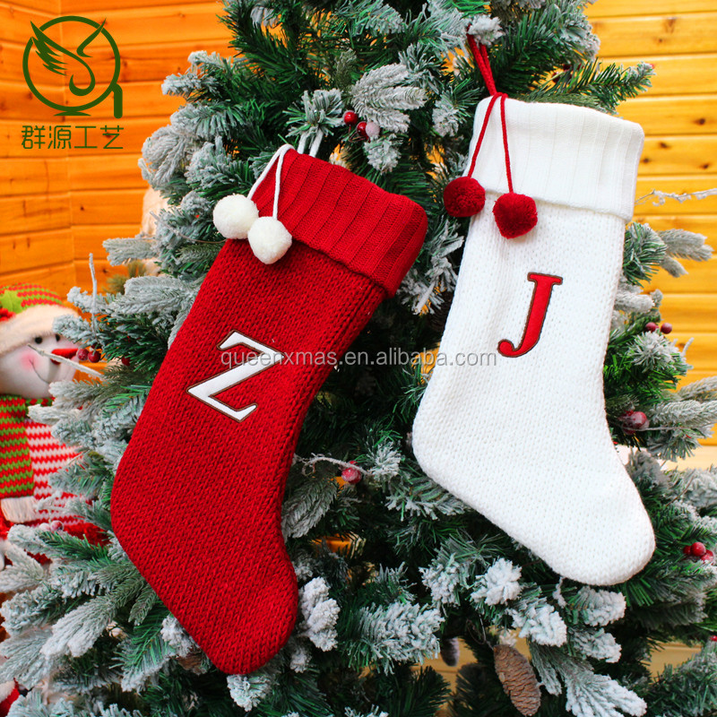 High Quality Red White monogram Knit Christmas Stockings