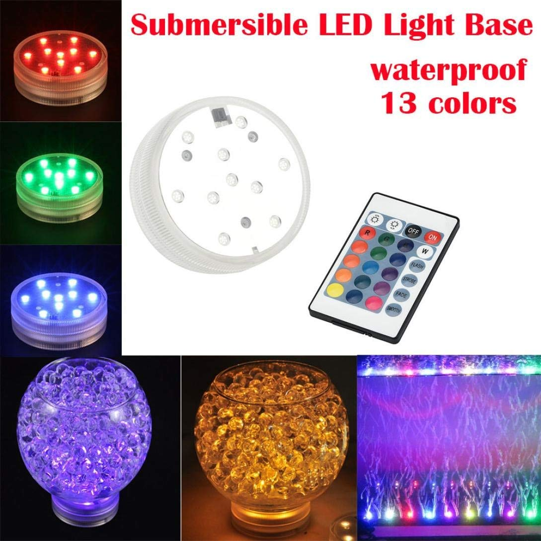 MChoice Colorful 10 LED Aquarium Diving Light with Remote Controller Battery Waterproof