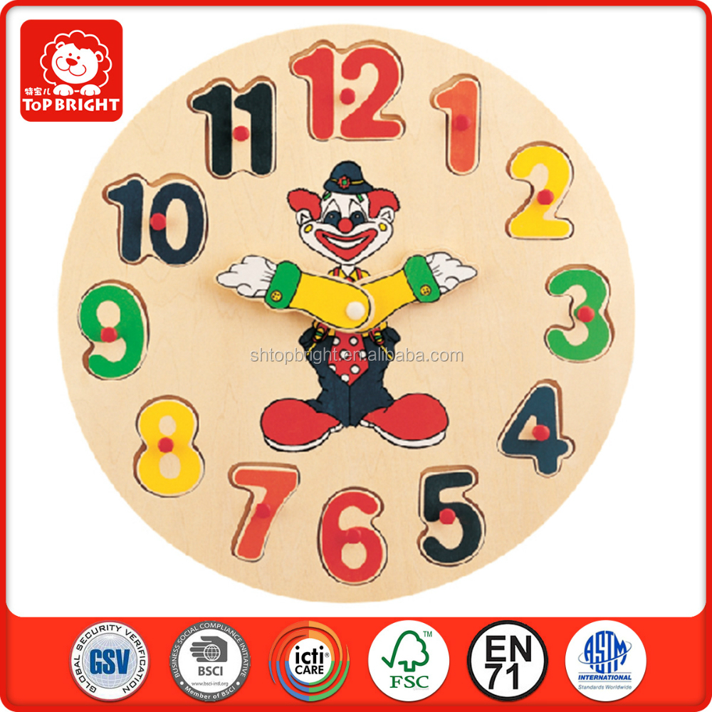 FSC certicate clown kids toys knob wooden puzzles clocks 3d diy wall small round educational oriental decorative small clocks