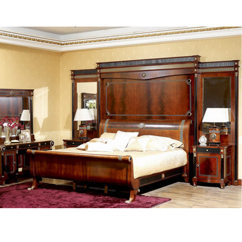 YB10 Italy Traditional Antique Mahogany King Size Master Bedroom Set Royal  Solid Wood Villa Bedroom Furniture