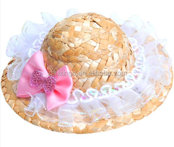 Elegant pet cap, new design fashion knit dog hat, pretty straw hats for small dogs