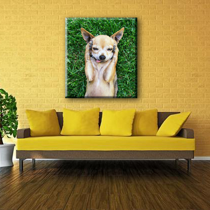 Dog on grass make face home goods wall canvas art canvas painting