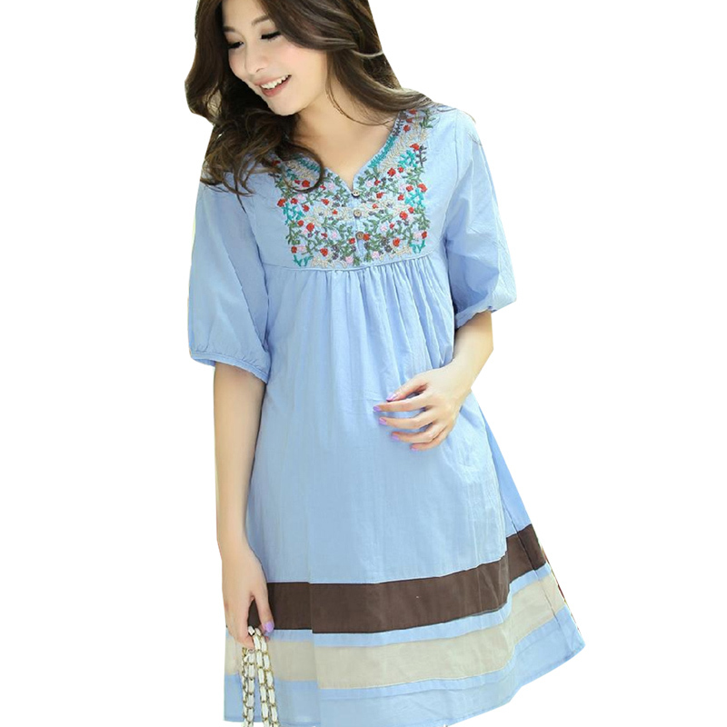 0e1ecabdfdb Summer Style Elegant Pregnant Women Dress Clothes Blue White Plus Size  Short Sleeve Maternity Dresses Pregnancy