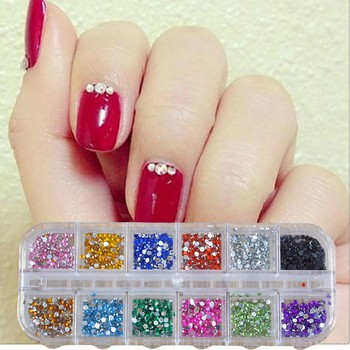 12 Colors 500pcs 2mm Round Nails Rhinestones Wholesale Nail Jewelry