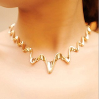 Luxury alloy plated jewelry Water ripple short chain ladies's silver choker necklace gold