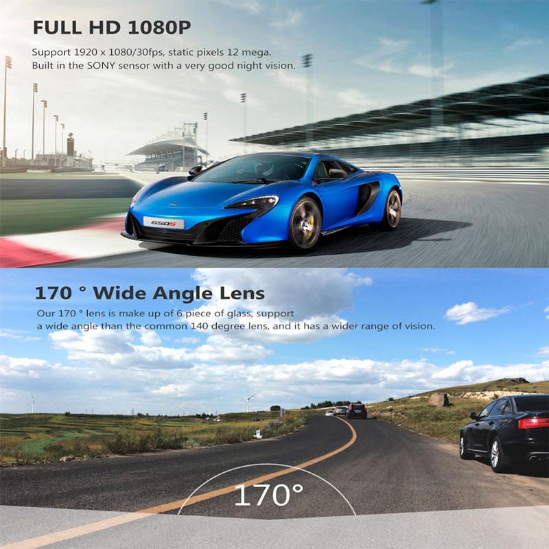4 インチ IPS デュアルレンズ車のダッシュカムフル Hd 1080 p ダッシュボードカメラナイトビジョン G センサーモーション検出ループ · レコーディング