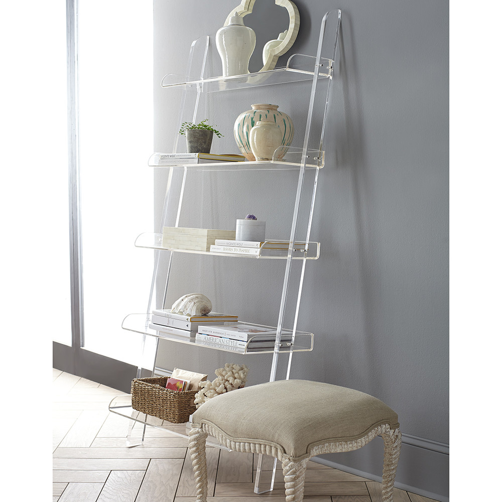 Unique Clear Acrylic Leaning Bookshelf