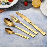 Gold Plated Cutlery Stainless Steel Flatware Ceramic Spoon Fork Knife Set