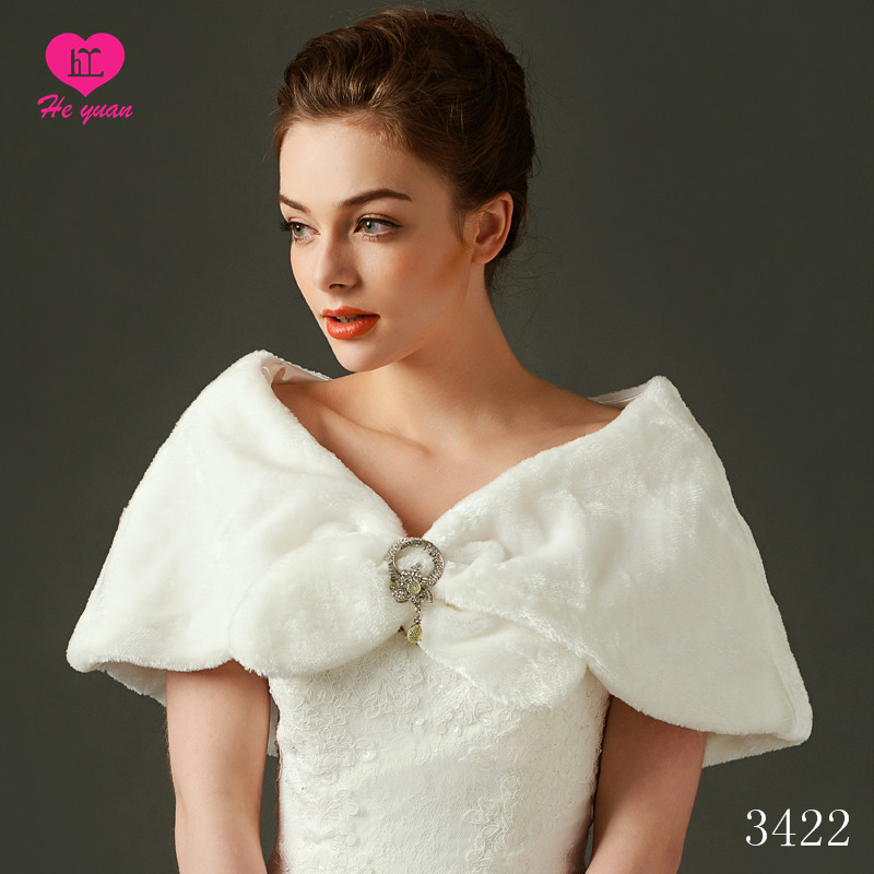 3422 Elegant Fur Wedding Shawl for Bridal Dress