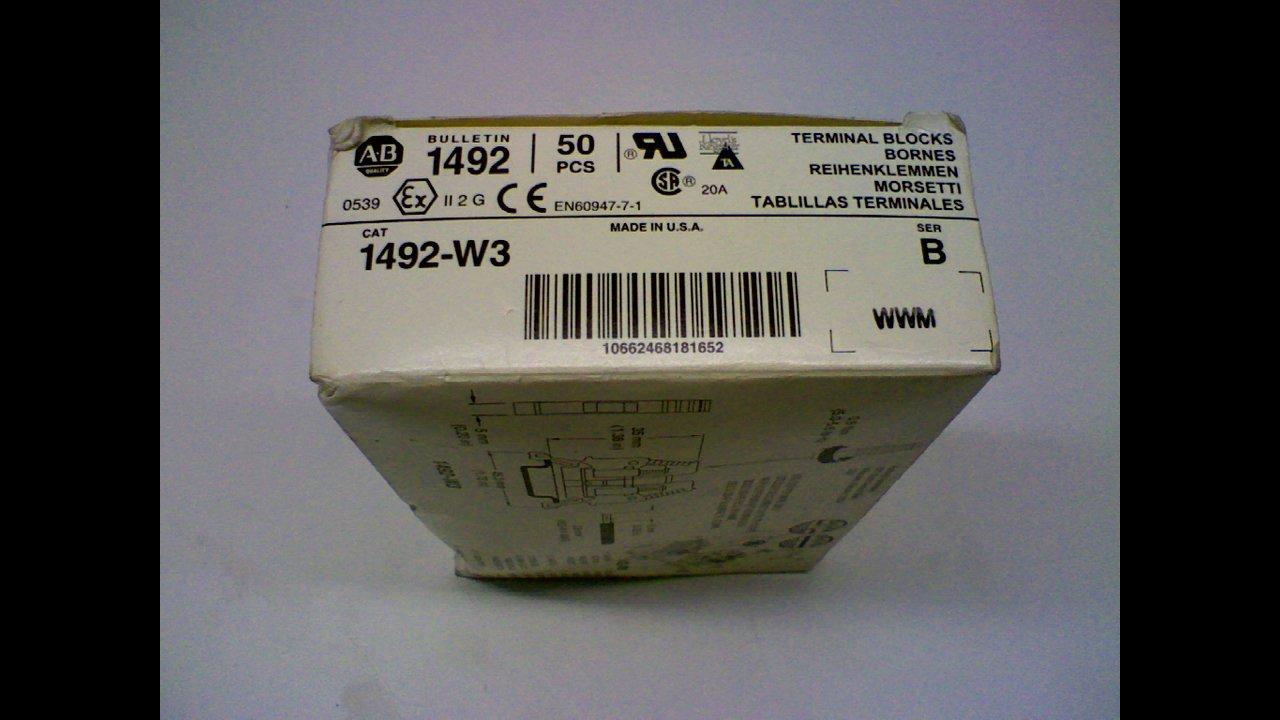 Allen Bradley 1492-W3 - Pack Of 50 - Series B Terminal Block 1492-W3 - Pack Of 50 - Series B