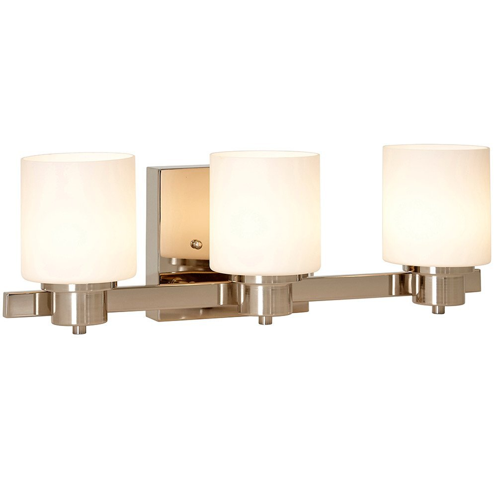 Traditional Polished Nickel Three Light Wall Sconce | LED Vanity Light Fixture | Modern Clean Triple Shade Bar Lights