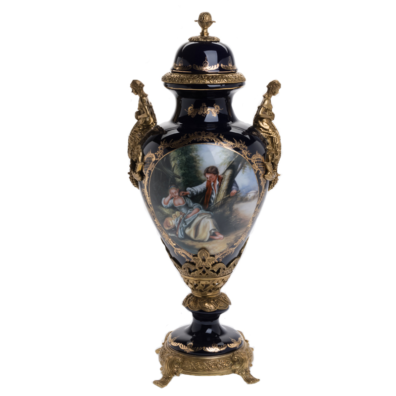 Luxury Antique European Bronze & Hand Painting Porcelain noble Home Decor vase Trophy Cup