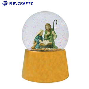 Modern decor religious human resin holy family snow globe