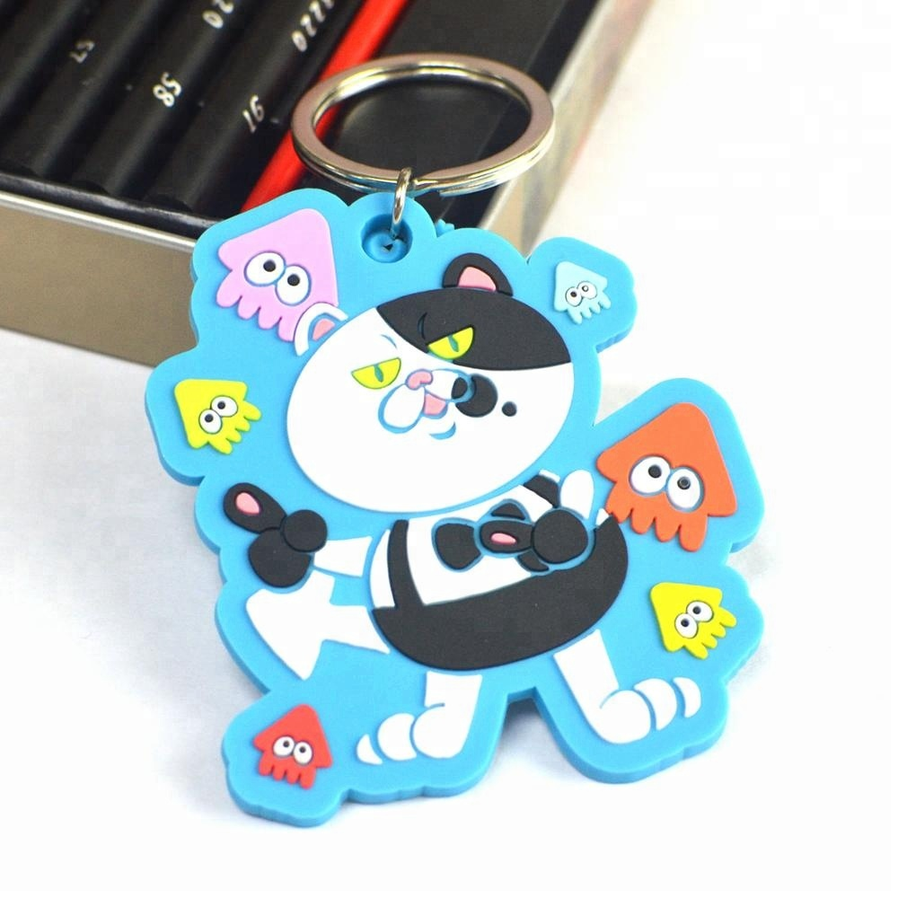 Custom Made Personalized Cheap Novelty Rubber Soft Pvc Tiger Keychain
