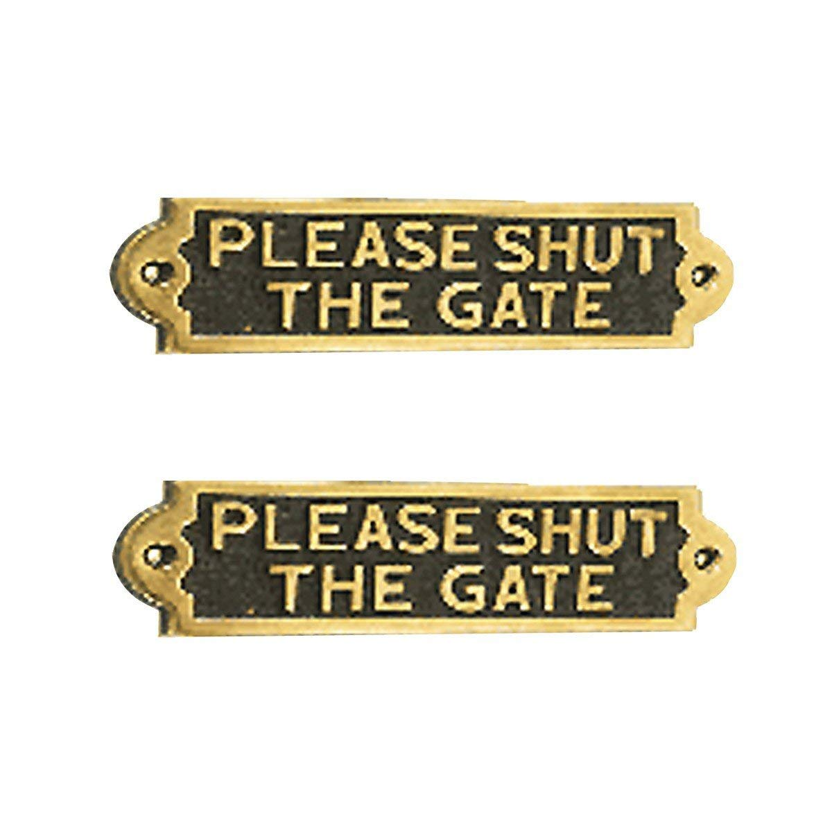 Renovator's Supply Solid Brass Plaques PLEASE SHUT THE GATE Sign Polished Brass Plate Pack Of 2