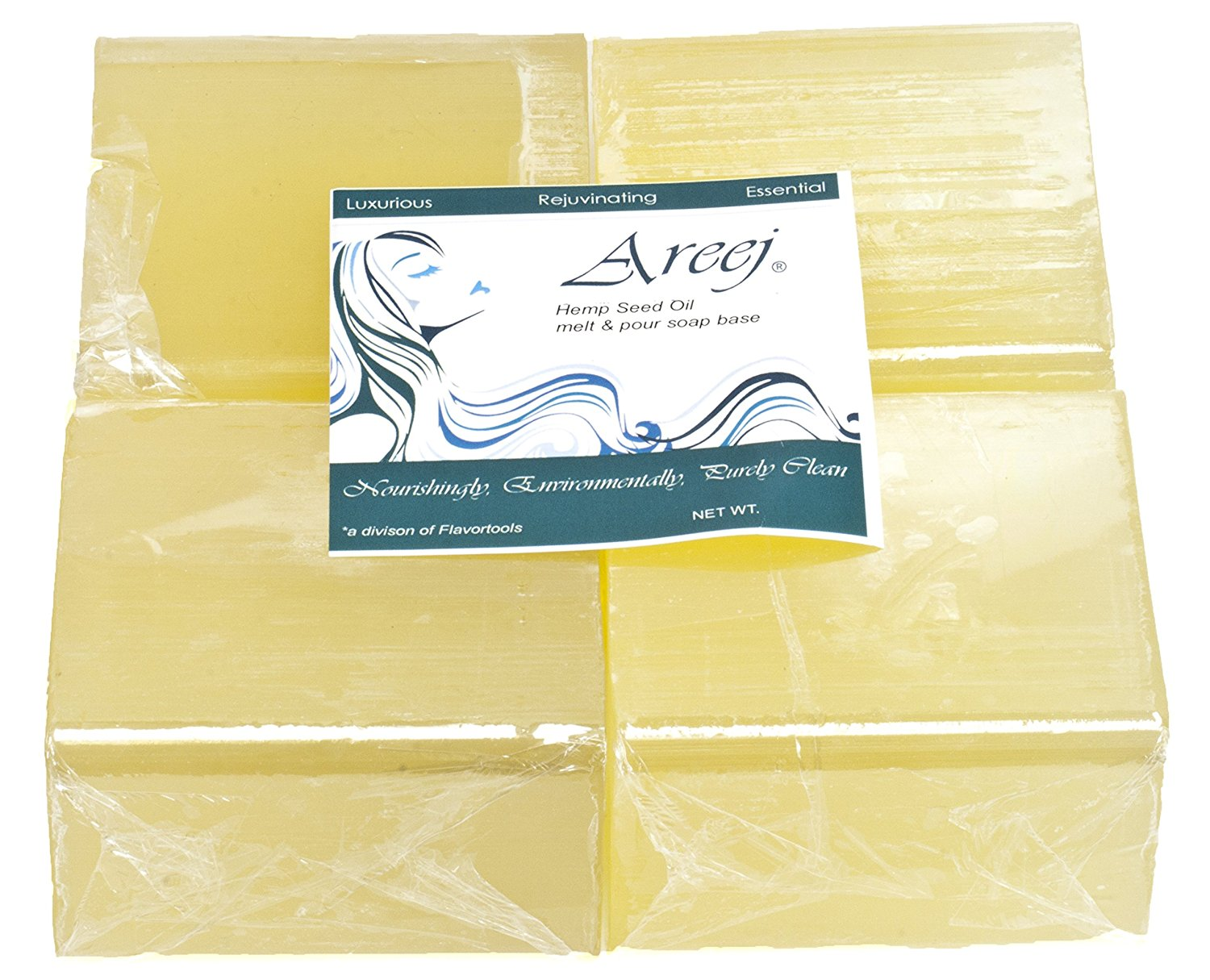 Areej Hypo-Allergenic Biodegradable Hemp Seed Oil Soap Base made with 100% Pure Natural Glycerin - 5 Pounds
