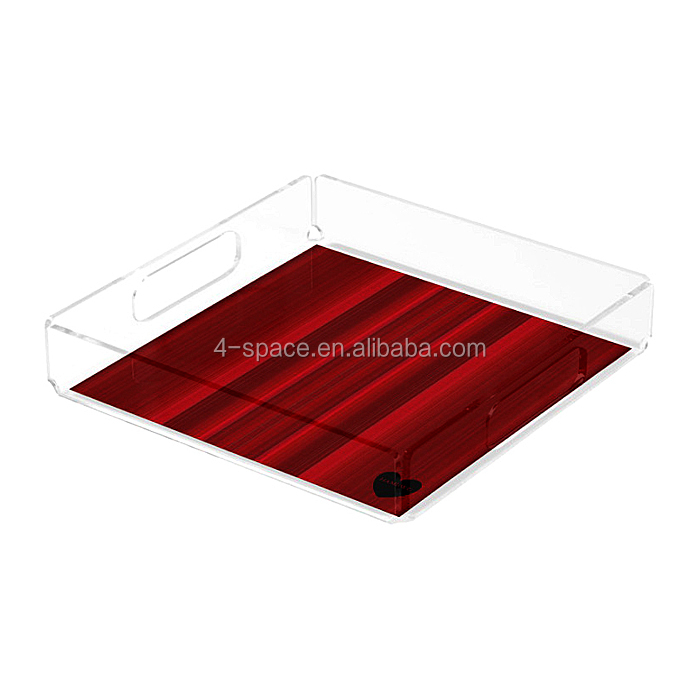 transparent acrylic file tray clear lucite desk documents holder square plexiglass storage box