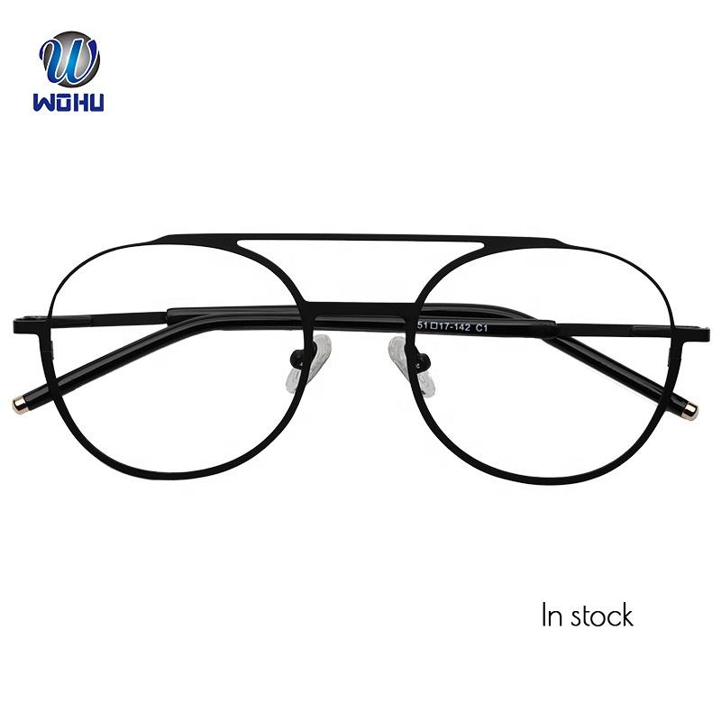 2558bb8d35222d Nieuwe Ontwerp Roestvrij Mode Metalen Dubbele Brug Rode Optische Bril Frame  Brillen Bril voor Dropshipping