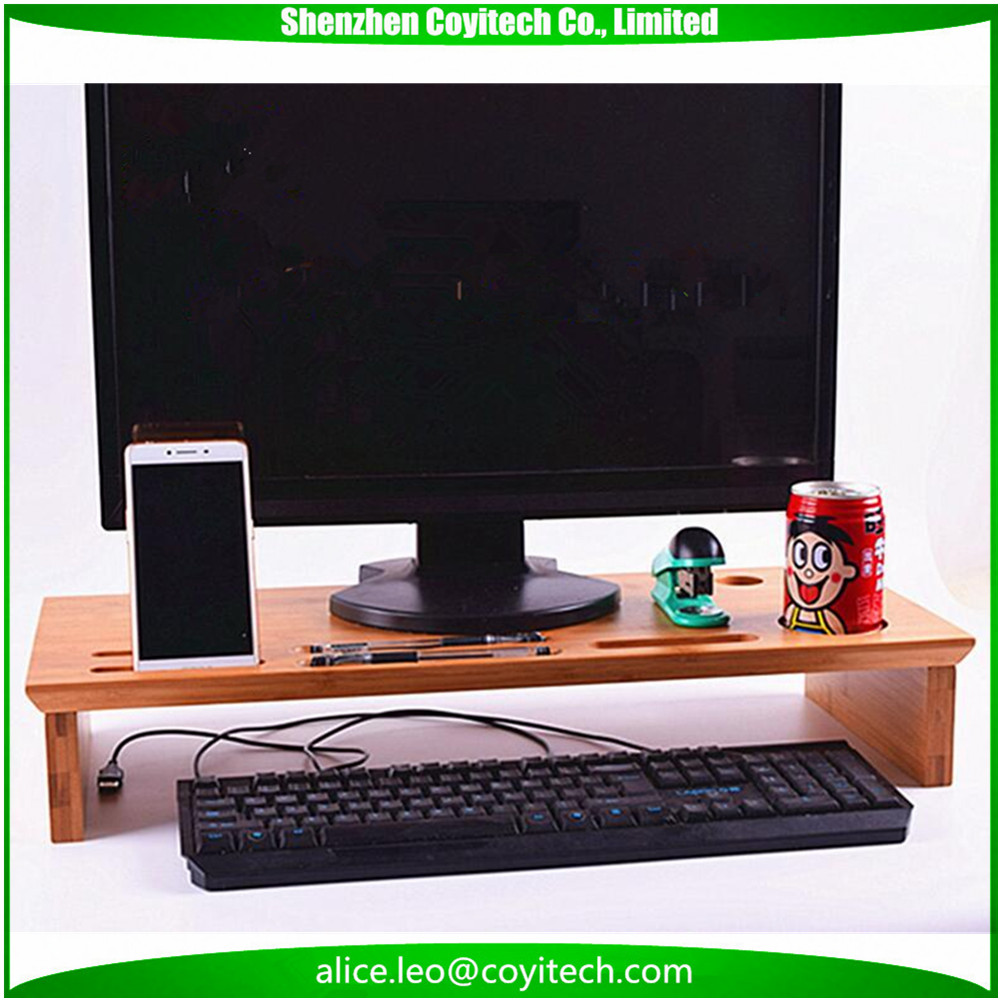 Organizador do Desktop pc monitor riser de stands suportes de bambu