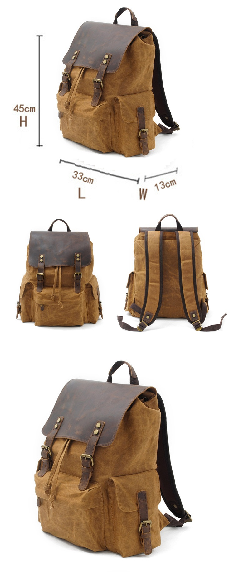 Wholesale vintage retro leather outdoor fancy waxed canvas laptop backpack satchel school back pack bags
