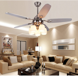 52 inch energy saving modern design wood blades large ceiling fan with light kit silver color and remote control