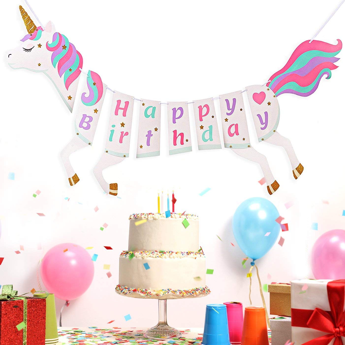 Get Quotations Unicorn Happy Birthday Banner Themed Party Supplies Magical Pastel Decorations