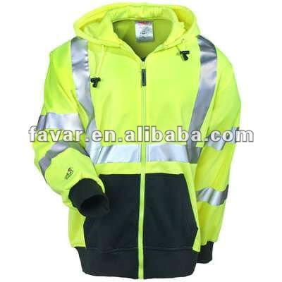 Green Fluorescent Reflective waterproof hooded Sweatshirt