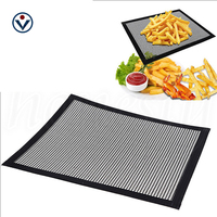 PTFE coated fiberglass Non-stick Reusable Cooking Mesh Mat for oven cooking & BBQ grilling
