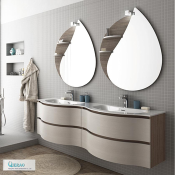 Modern European Furniture Double Sink Curved Bathroom Vanity