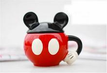Hot Sales Cute Mickey Ceramic Cup Coffee Mug With Cover For Breakfast Novelty Households Cartoon Mug