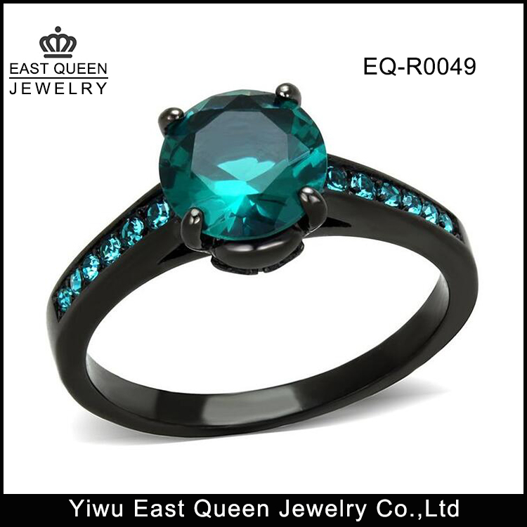 Blue Zircon AAA CZ Black Stainless Steel Engagement Ring For Women