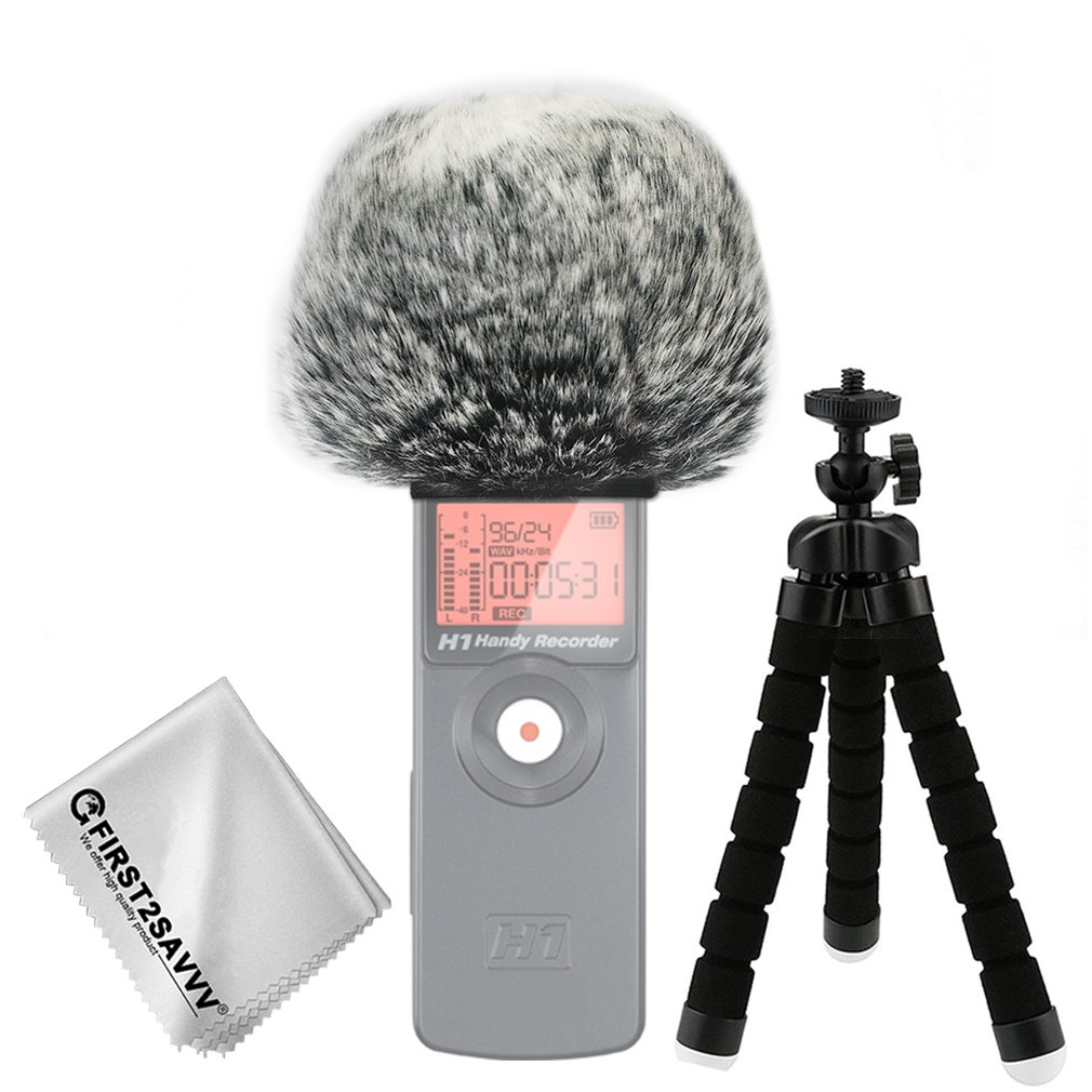First2savvv TM-GO-B01 Outdoor Portable Digital Recorders Furry Microphone Mic Windscreen Wind Muff for RODE VideoMic Cleaning cloth