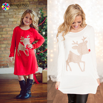 Mommy and Me Maxi Dress Red White Long Sleeve Girls Glitter Reindeer Tunic  Christmas Cotton 8953d1a22