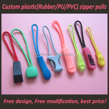 Factory custom logo bags plastic zipper puller clothes soft pvc zipper puller