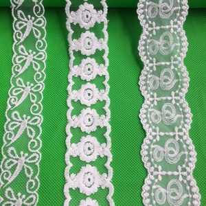 Hot sale Wholesale french chemical lace trims embroidery design cotton/nylon mesh lace for girl skirt/garment