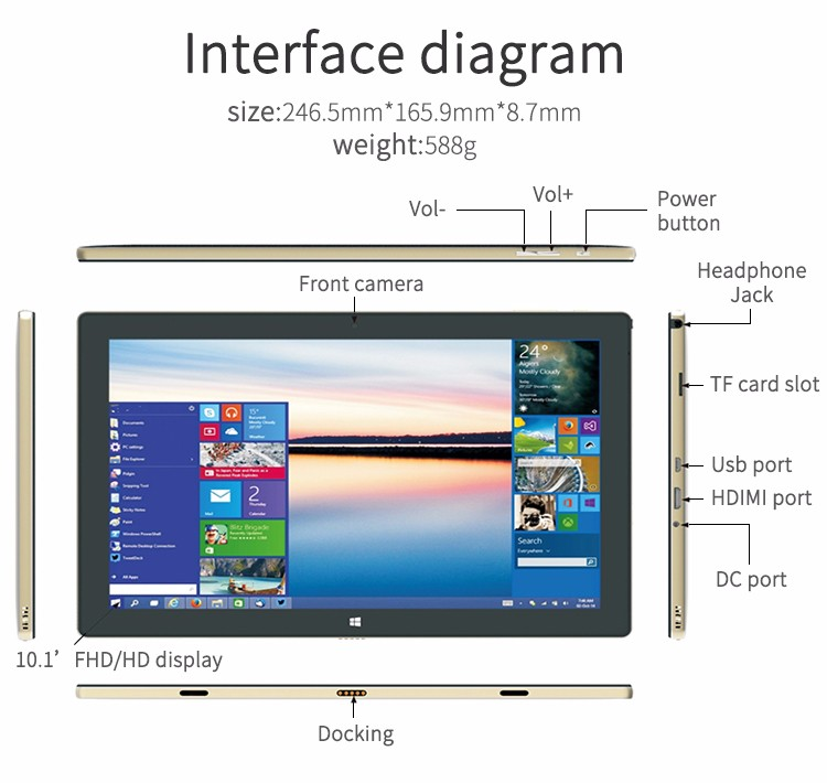 2 in 1 10.1 inch tablet pc met windows10 en Android 5.1