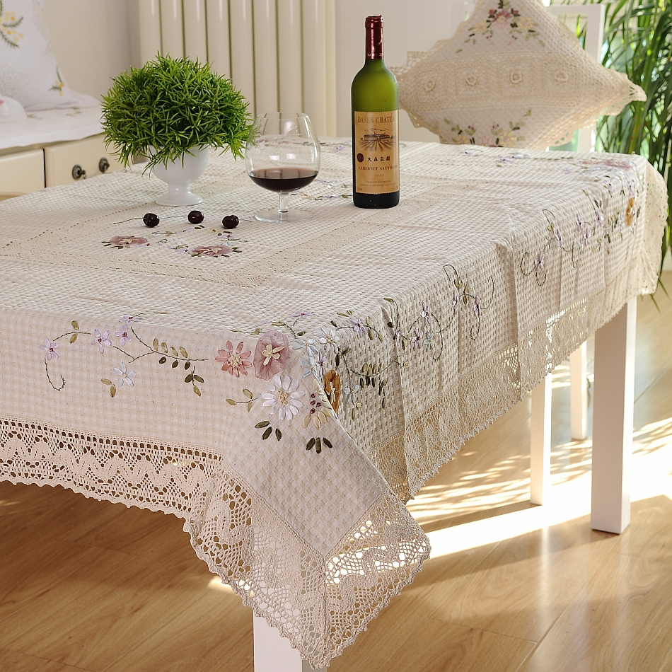 Fashion Rustic Dining Table Cloth Lace Tablecloth Handmade