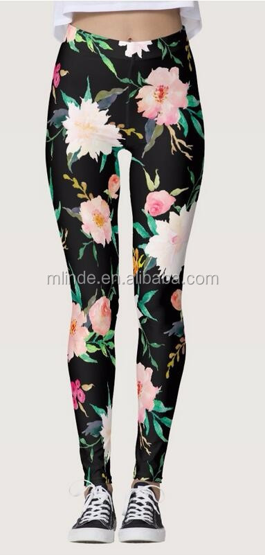 Sport Leggings Woman Girly Trendy Pink Black White Floral Watercolor Leggings Skinny Tracksuit Leggings Printed Custom