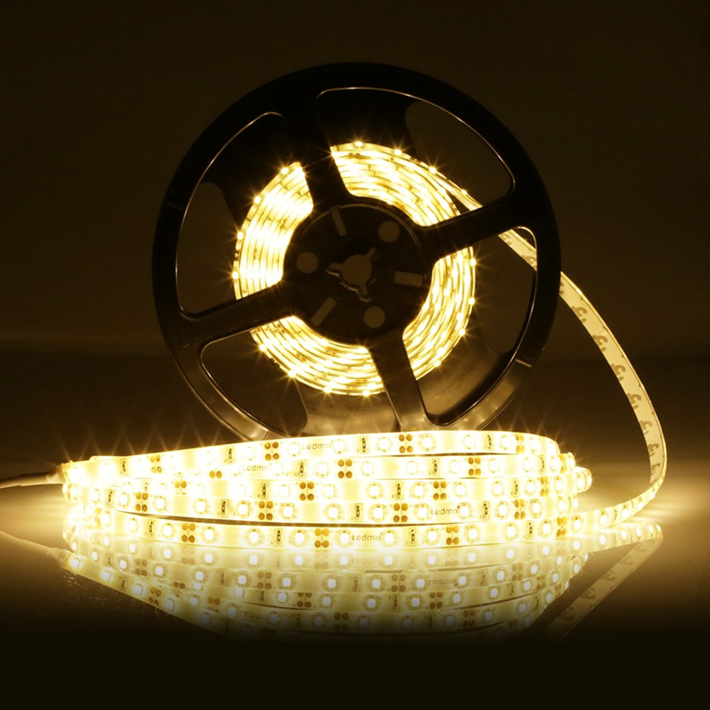LEDMO SMD2835 LED Strip Light, 16.4Ft, Warm White 3000K 300LEDs, Waterproof IP65, DC12V, 15Lm/LED CRI80, LED Strip Light